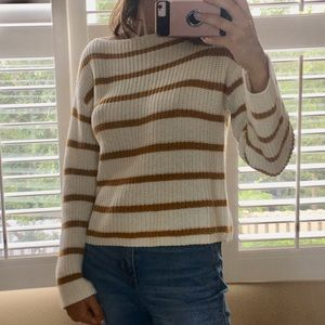 Mustard and White Striped Sweater